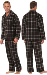 Model wearing Men's Button Front Fleece Pajamas - Charcoal Check facing away from the camera and then facing to the side image number 1