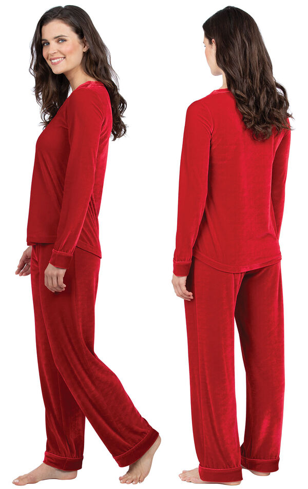 Model wearing Red Velour PJ with Satin Trim for Women, facing away from the camera and then to the side image number 1