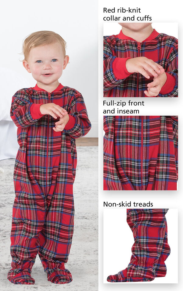 Close-ups of Stewart Plaid Infant Onesie's features which include red rib-knit collar and cuffs, full-zip front and inseam and non-skid treads image number 3