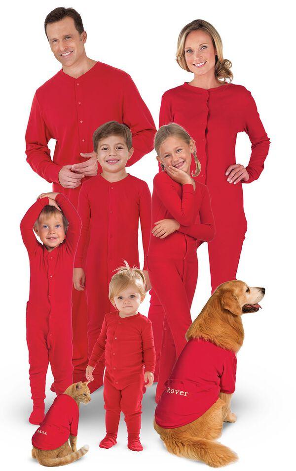Models wearing Red Onesie Dropseat Matching Family Pajamas image number 0