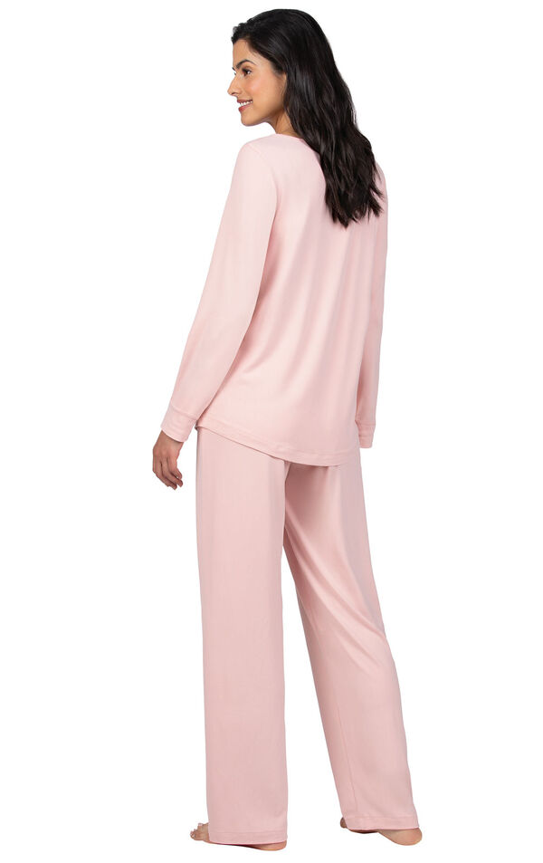 Model wearing Pink Tie-Neck Pajamas for Women, facing away from the camera image number 1
