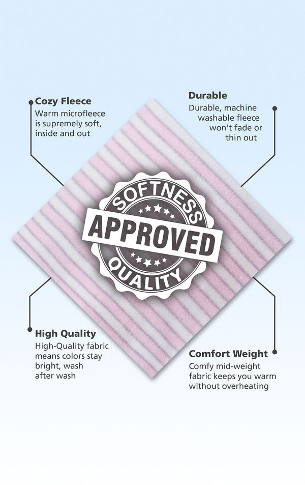 Pink Stripe fleece swatch with the following copy: Microfleece is supremely soft. Machine washable fleece won't fade or thin out. High-quality fabric means colors stay bright. Mid-weight fabric keeps you warm without overheating. image number 4