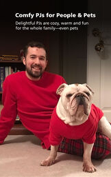 Customer Photo of Man and Dog wearing Stewart Plaid Matching Pajamas with the following copy: Comfy PJs for People and Pets - Delightful PJs are cozy, warm and fun for the whole family - even pets image number 2