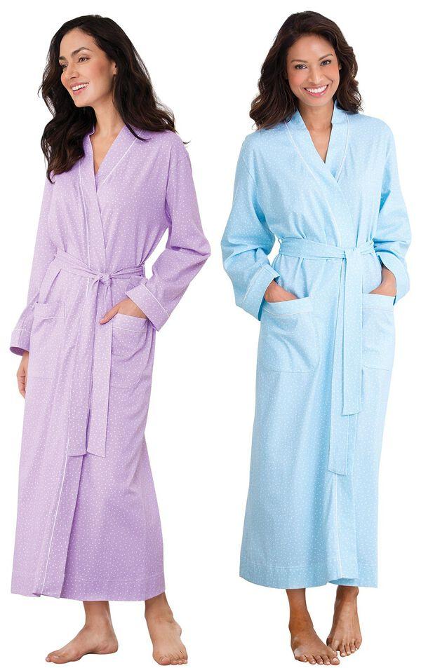Models wearing Classic Polka-Dot Robe - Lavender and Classic Polka-Dot Robe - Blue. image number 0