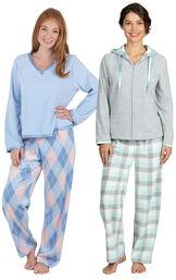 Models wearing Snuggle Fleece Hoodie Pajamas - Aqua and Snuggle Fleece Argyle Pajamas.