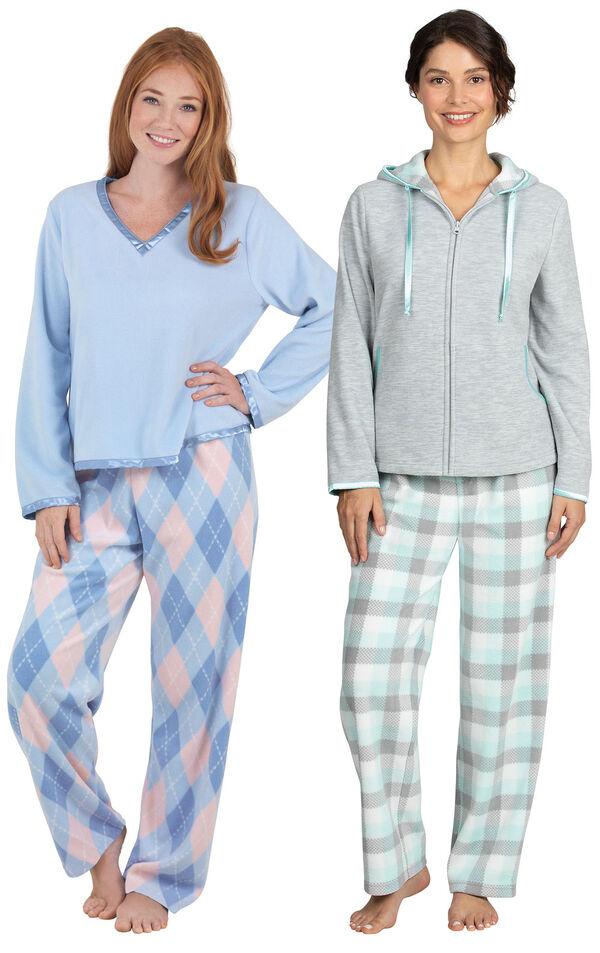 Models wearing Snuggle Fleece Hoodie Pajamas - Aqua and Snuggle Fleece Argyle Pajamas. image number 0