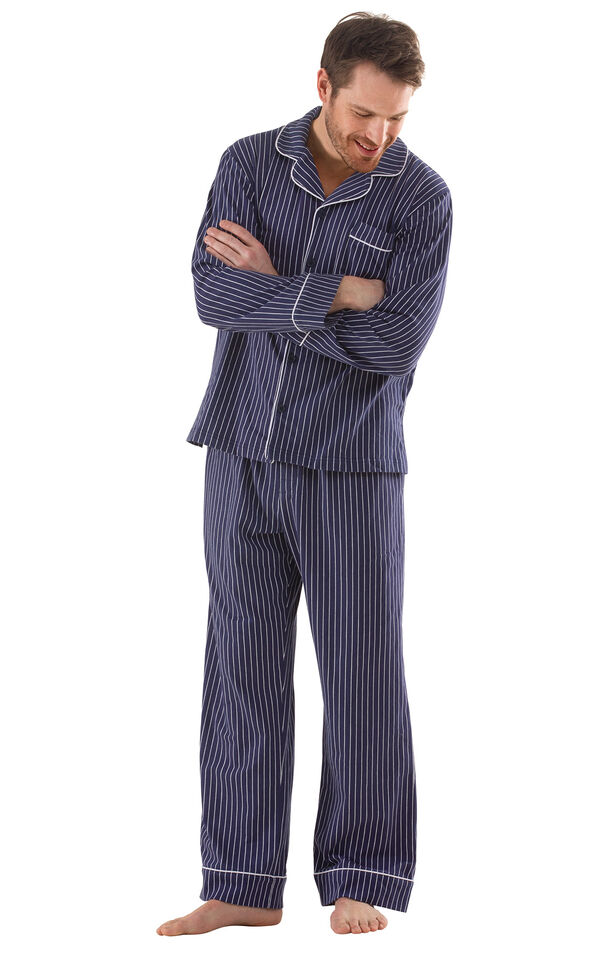 Classic Stripe Men's Pajamas - Navy image number 0