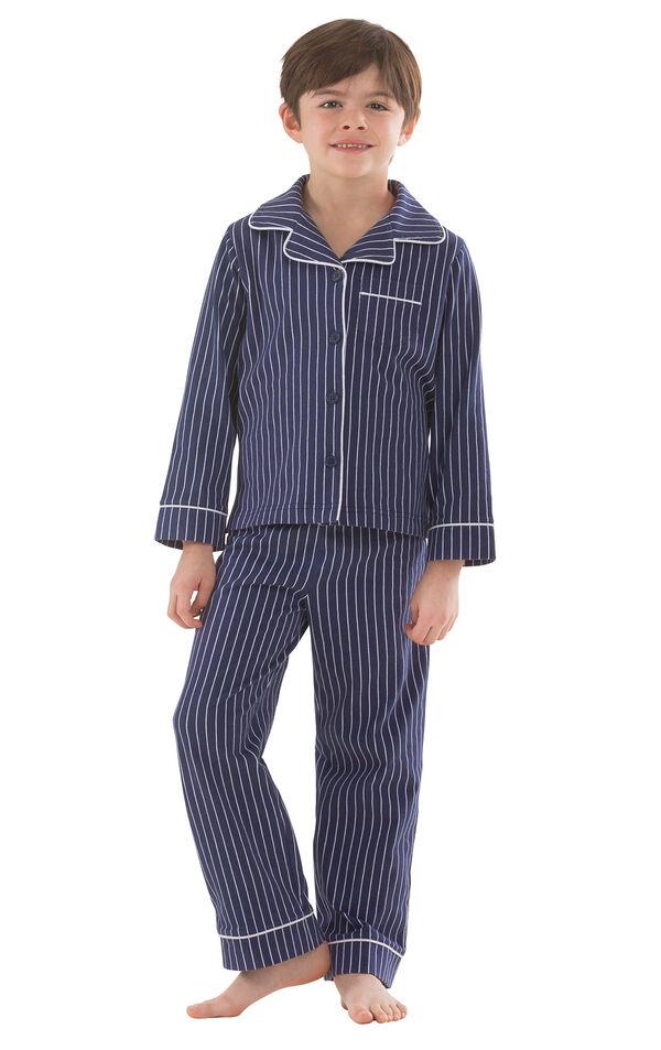 Classic Stripe Boys Pajamas - Navy image number 0