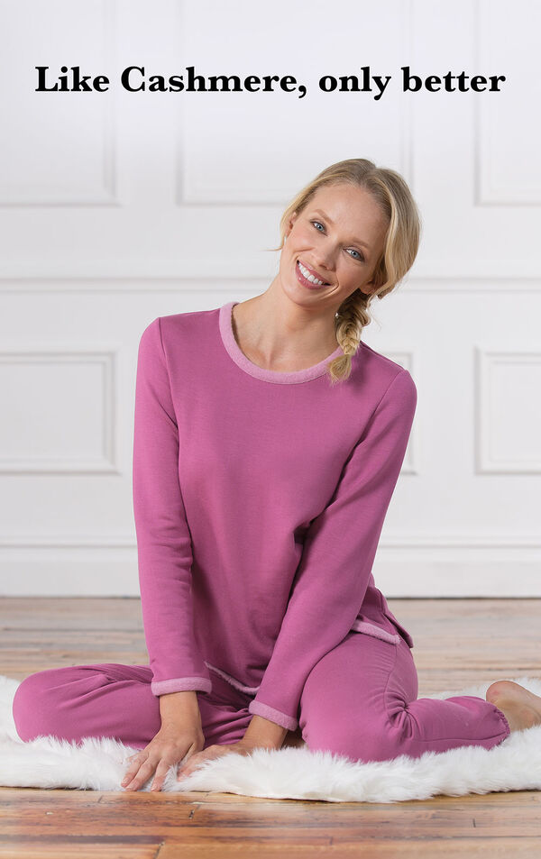 Model sitting down wearing Raspberry World's Softest Jogger PJs with the following copy: Like Cashmere, only better. image number 2
