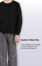 Long Sleeve Boys Pajamas - Gray Stripe image number 3