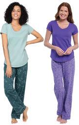 Models wearing Short-Sleeve V-Neck Pajamas- Purple Floral and Short-Sleeve Jersey Pajamas - Green Floral Print image number 0