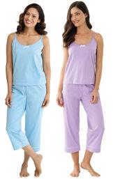 Models wearing Classic Polka-Dot Capri Pajamas - Blue and Classic Polka-Dot Capri Pajamas - Lavender. image number 0