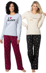 Models wearing Addison Meadow|PajamaGram Flannel PJs - Hearts and Addison Meadow|PajamaGram Flannel PJs - Champagne.
