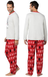 Model wearing Red Star Wars PJ for Men, facing away from the camera and then to the side image number 1