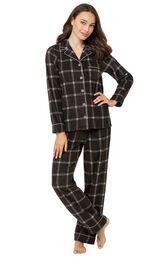 Charcoal Check Fleece Boyfriend Pajamas image number 0