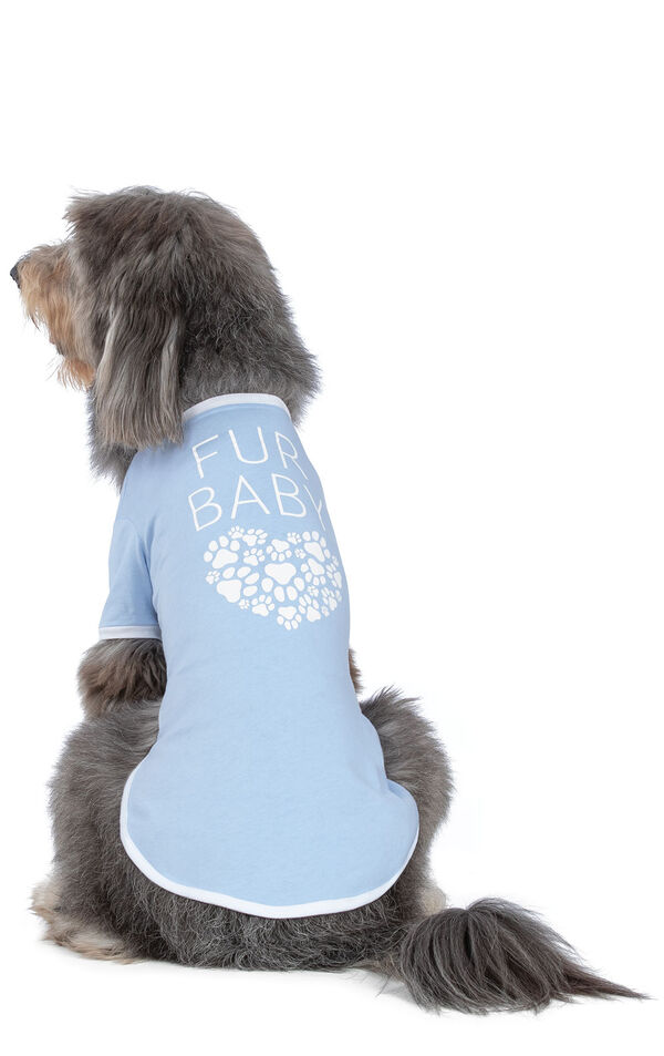 Model wearing Light Blue Paw Print Heart PJ for Pets, facing away from the camera image number 1