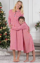 Mother and daughter wearing matching Candy Cane Stripe Fleece Gowns image number 3