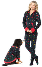 Models wearing Hoodie-Footie - Black Fleece with Stars for Women and Pets image number 0