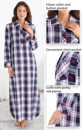 Close-ups of Snowfall Plaid Flannel Nighty features which include a classic collar and button placket, convenient chest pocket and cuffs with pretty red piping image number 3