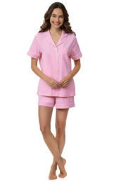 Model wearing Pink with White Polka Dots Short Set for Women image number 0