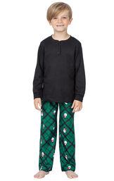 Model wearing Black and Green Snowman Argyle Henley PJ for Kids