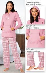Glitzy Pink Plaid Hooded Pajamas image number 3