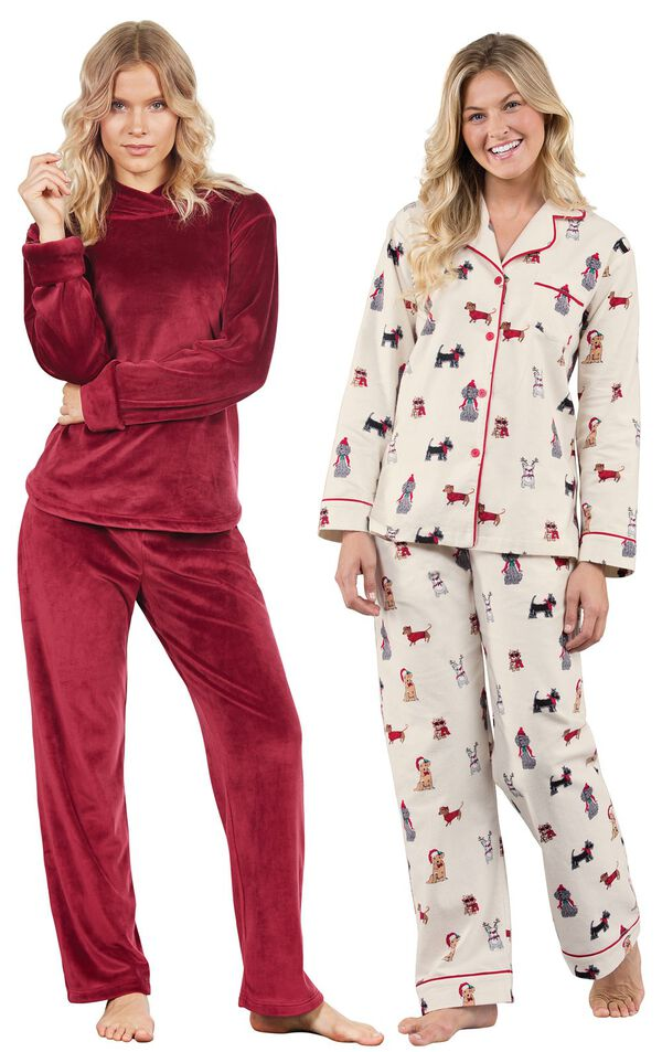 Models wearing Christmas Dogs Flannel Boyfriend Pajamas and Tempting Touch PJs - Garnet. image number 0