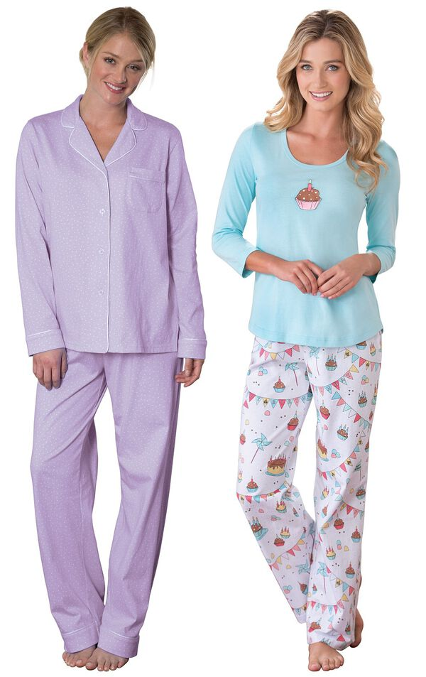 Models wearing Classic Polka-Dot Boyfriend Pajamas - Lavender and Happy Birthday Pajamas. image number 0