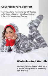 Model wearing Nordic Fleece Hoodie-Footie laying down with the following copy: Cozy Hood and function zip-off footies offer total relaxation from head to toe; Infants PJ has sewn-on footies. Mid-weight microfleece fabric with a Nordic print pattern image number 2