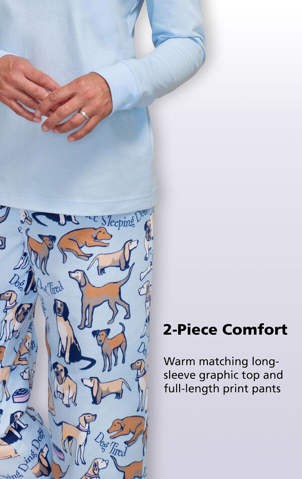 Warm matching long-sleeve Dog Tired graphic top and full-length matching dog print pants image number 3