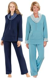 Models wearing World's Softest Pajamas - Navy and World's Softest Pajamas - Teal.