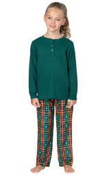 Model wearing Red and Green Christmas Tree Plaid Thermal Top PJ for Girls