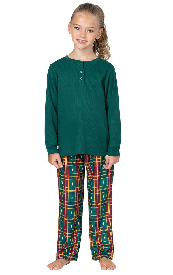 Model wearing Red and Green Christmas Tree Plaid Thermal Top PJ for Girls image number 0
