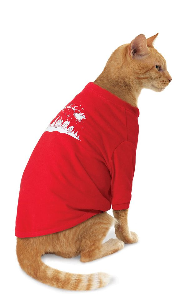 Model wearing Red and Green Night Before Christmas PJ for Cats image number 0