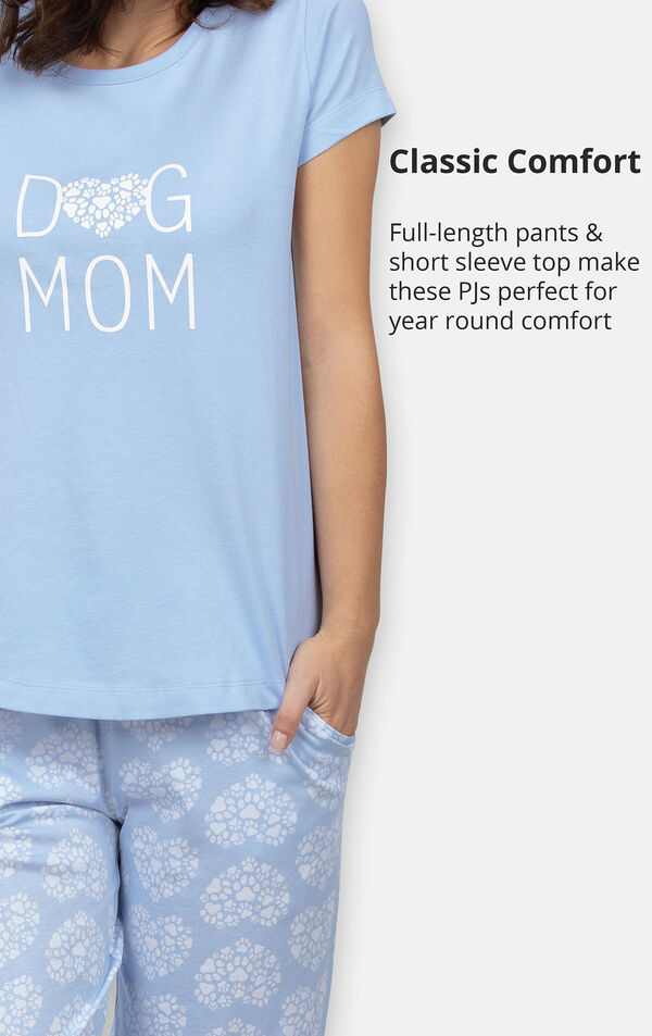 Full-length pants and short sleeve top make these PJs perfect for year round comfort image number 4