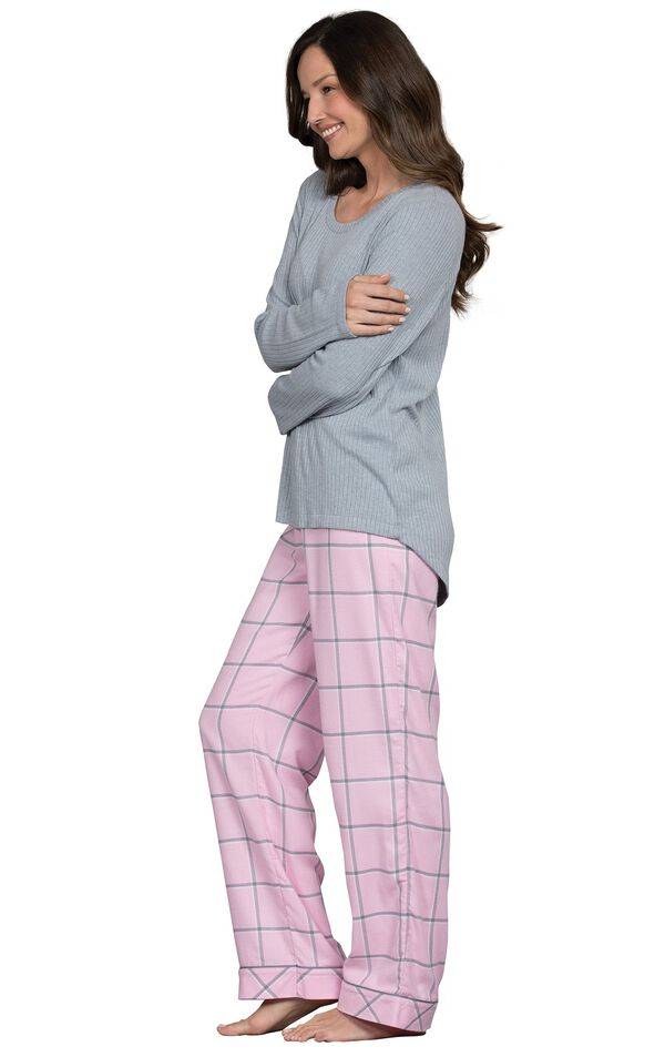 Model wearing Light Pink and Gray Plaid Thermal Top PJ for Women, facing to the side image number 2