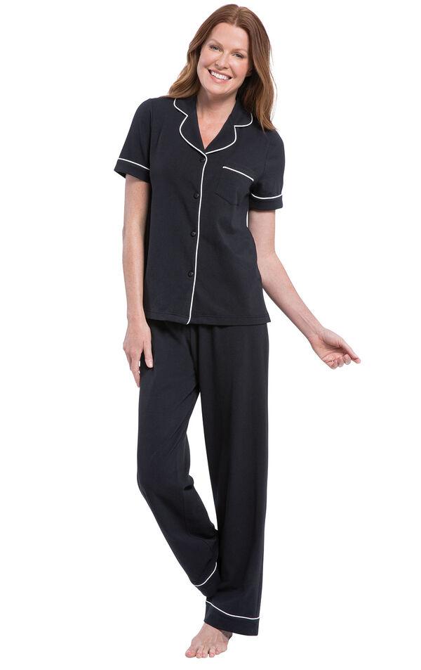 Model wearing Black Solid Short Sleeve Boyfriend PJ image number 1