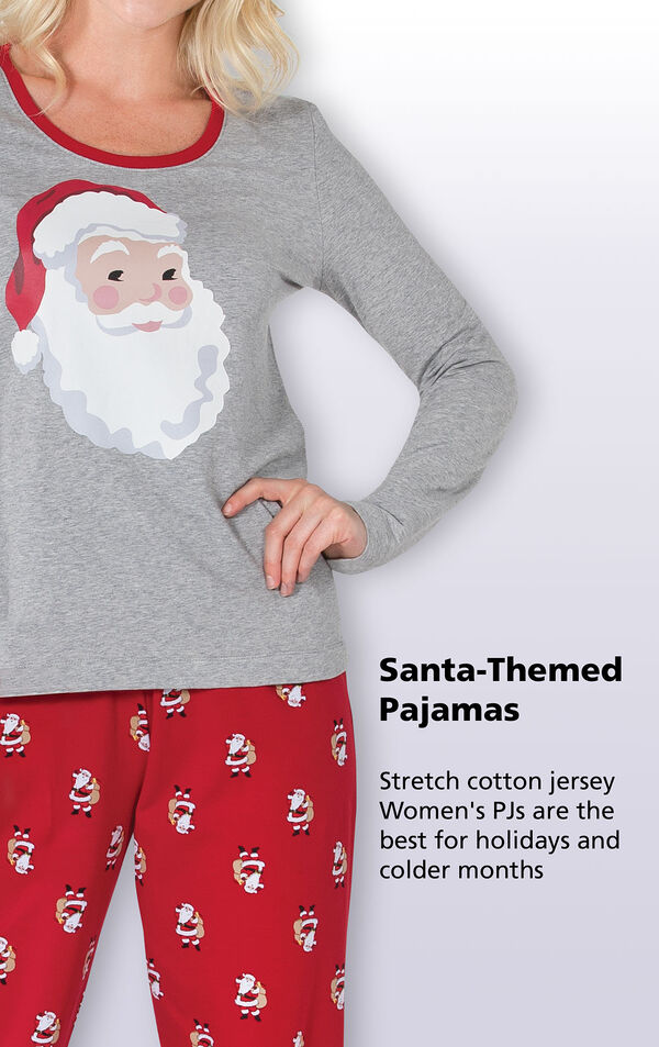Santa-Themed Pajamas - stretch cotton jersey Women's PJs are the best for holidays and colder months image number 6