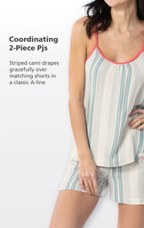 Close up of Margaritaville Cabana Striped Short Set Coordinating 2-Piece PJs - striped cami drapes gracefully over matching shorts in a classic A-line image number 3