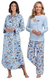 Models wearing Dog Tired Flannel Nighty and Dog Tired Jersey-Top Flannel Pajamas. image number 0