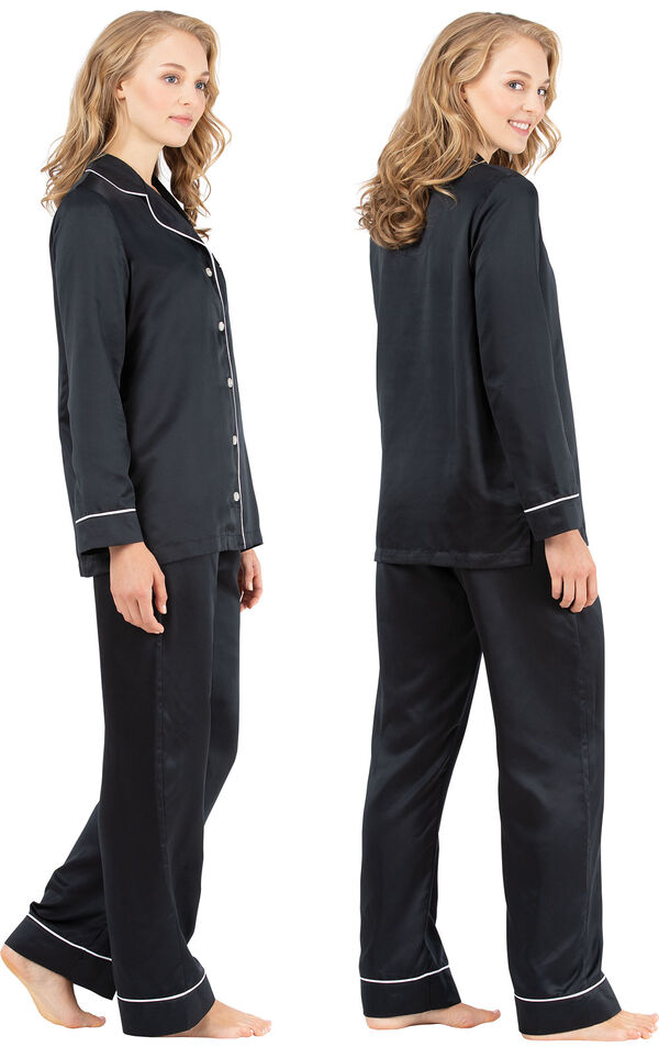 Model wearing Black Satin Button-Front PJ with Contrast Piping for Women, facing away from the camera and then to the side image number 1