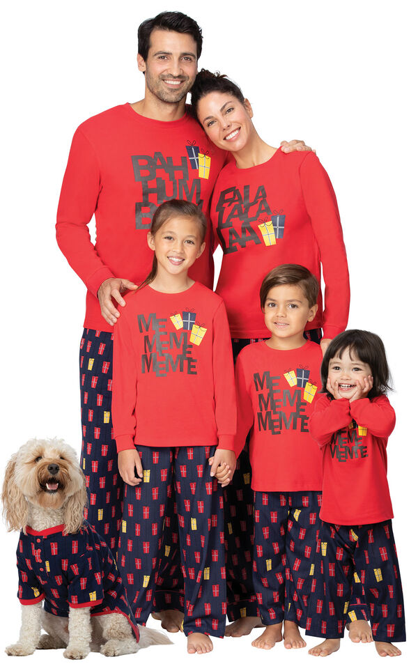 Models wearing Red and Blue Christmas Presents Matching Family Pajamas image number 0