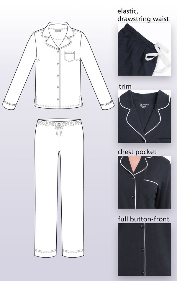 Jersey Boyfriend Pajamas feature a notched collar and chest pocket, classic button-front boyfriend style and long sleeves with cuffs and puping image number 3