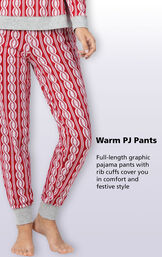 Red and White Peppermint Twist Jogger Pajamas Bottoms with the following copy: full-length graphic pajama pants with rib cuffs cover you in comfort and festive style image number 3