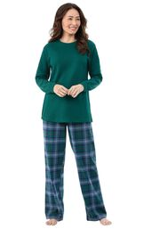 Model wearing Green and Blue Plaid Thermal-Top PJ for Women
