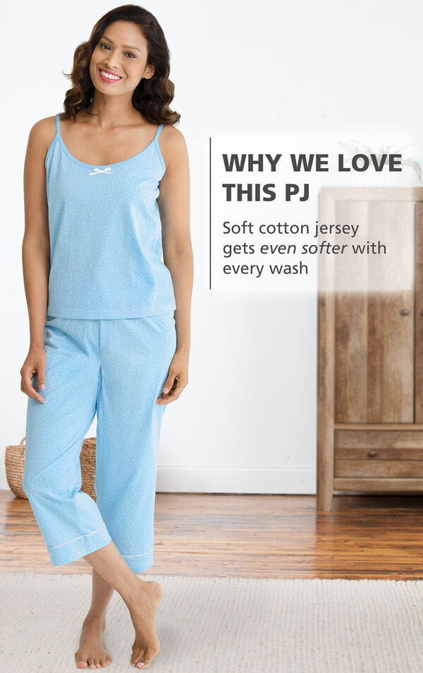 Model wearing Oh-So-Soft Pin Dot Capri Pajamas - Blue with the following copy: Why We Love This PJ: Soft cotton jersey gets even softer with every wash image number 1
