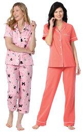 Models wearing Kitty in Paris Short-Sleeve Boyfriend Capri Pajamas - Pink and Solid Jersey Short-Sleeve Boyfriend Pajamas - Coral image number 0