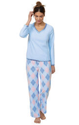 Model wearing Blue and Pink Argyle PJ for Women image number 0