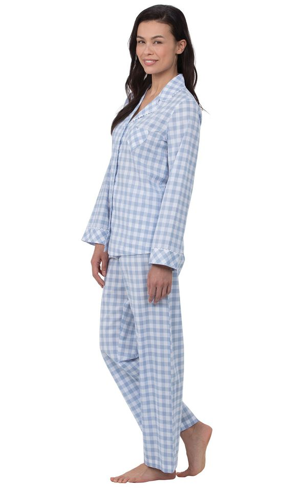 Model wearing Blue and White Gingham Button-Front PJ for Women, facing to the side image number 2