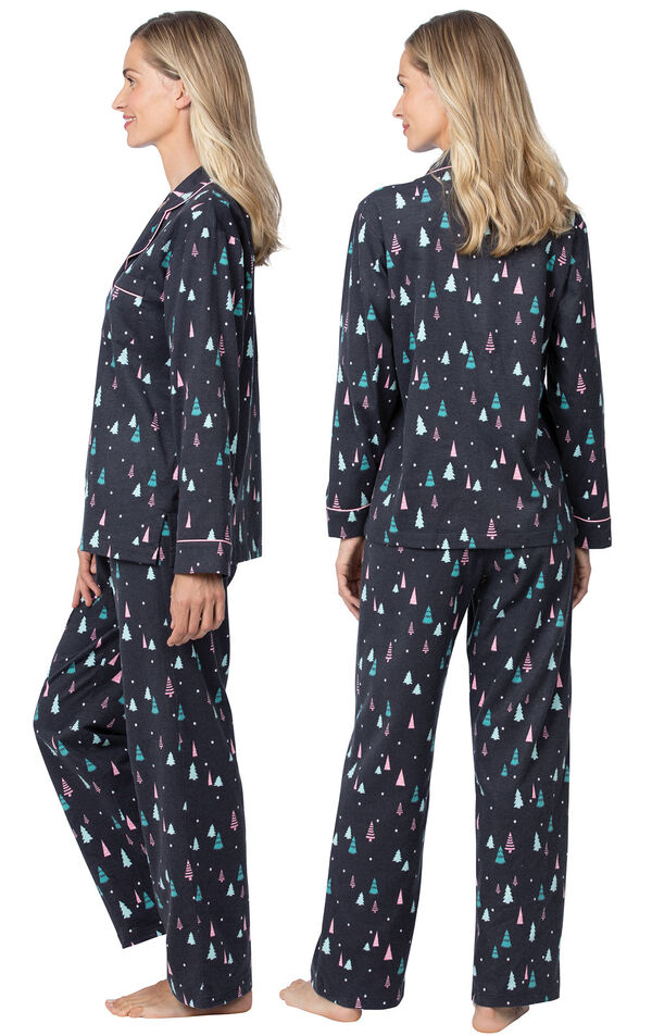 Model wearing Black with Bright Tree Print Button-Front PJ for Women, facing away from the camera and then facing to the side image number 1